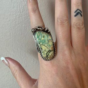 Size 7 Big Stoned Sterling Silver Ring